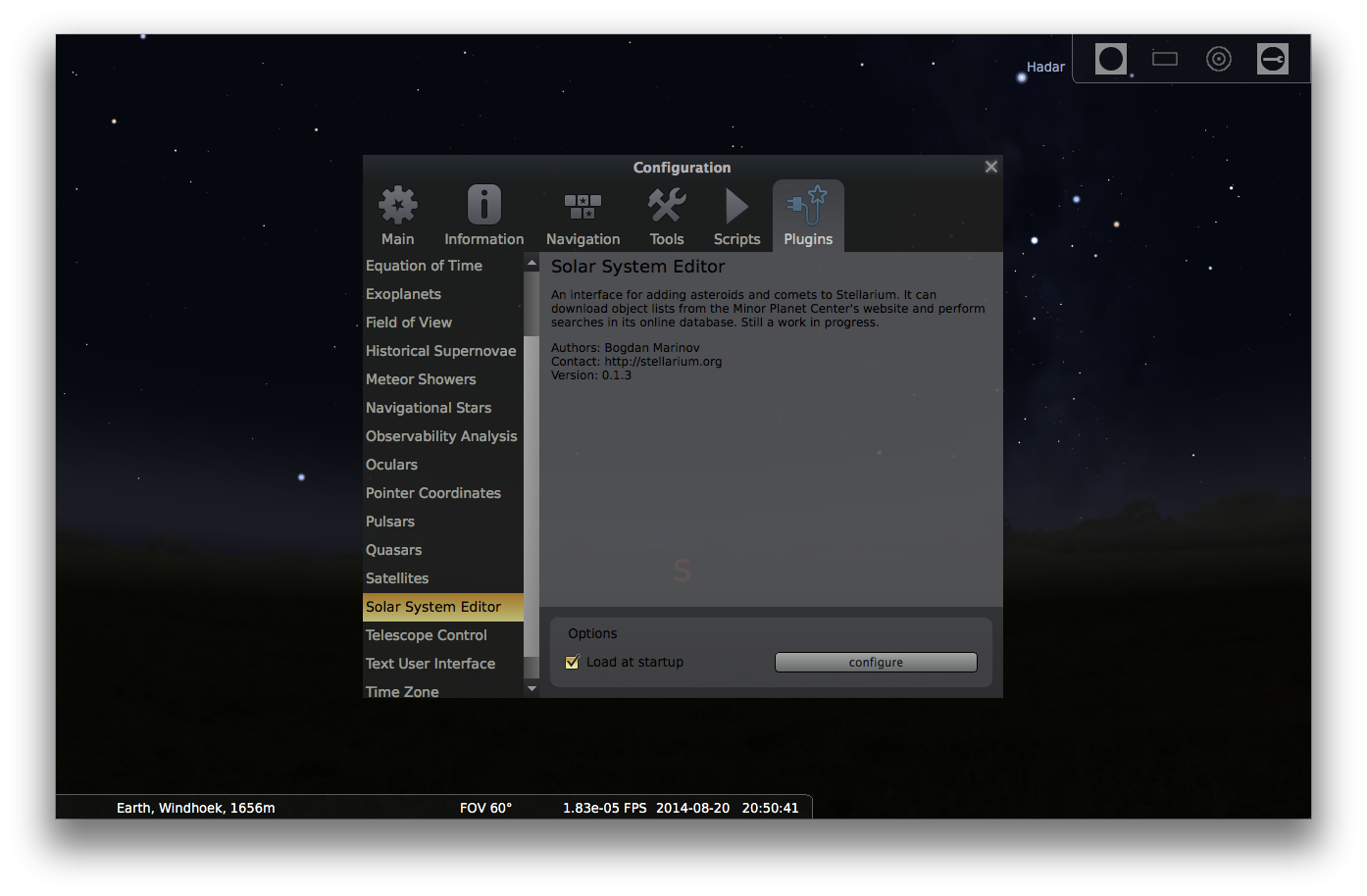 Adding comets to Stellarium - Step 2