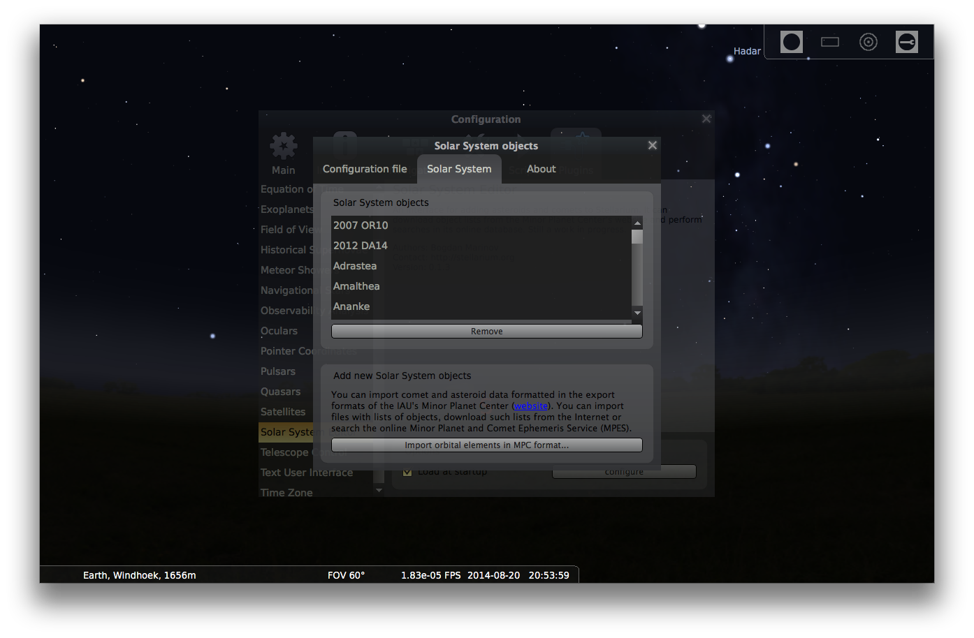 Adding comets to Stellarium - Step 3