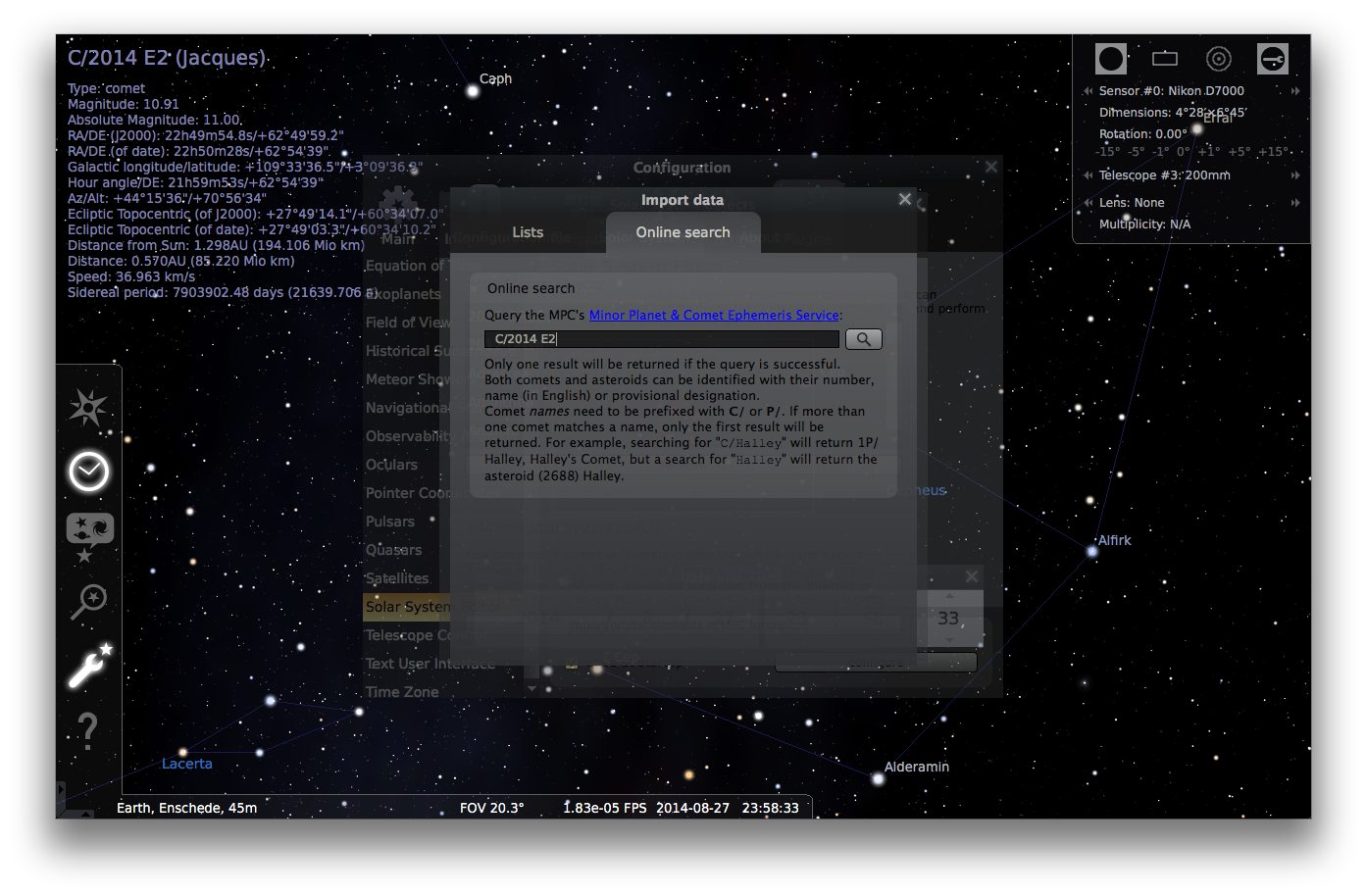 Adding comets to Stellarium - Step 4