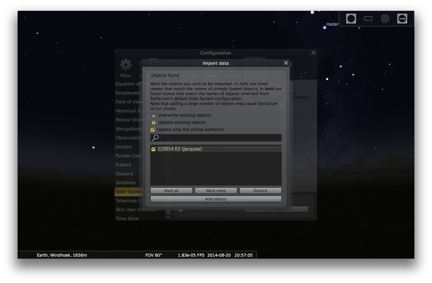 Adding comets to Stellarium - Step 5