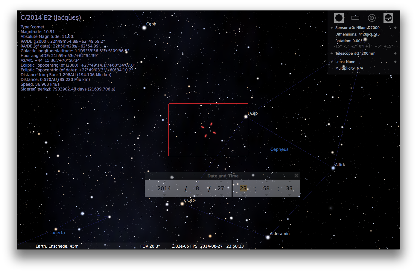 Adding comets to Stellarium