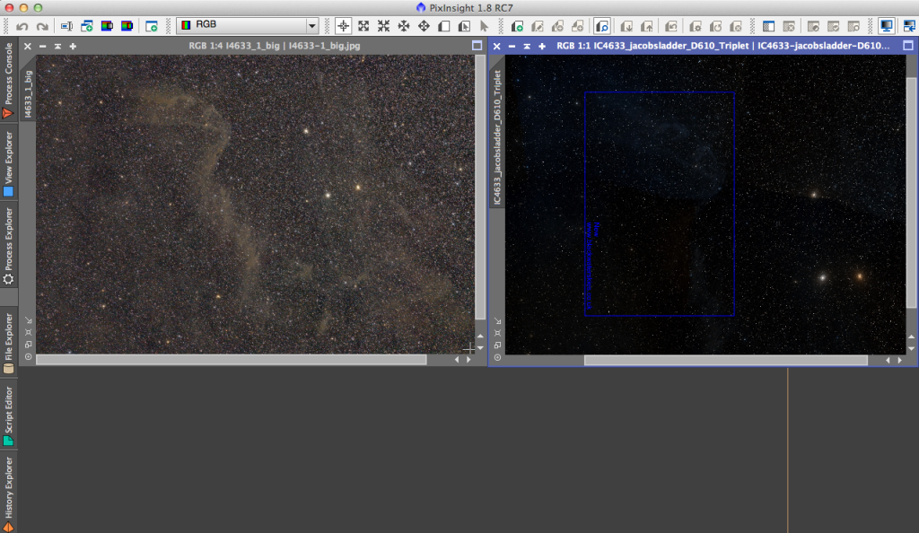 Open both images in PixInsight