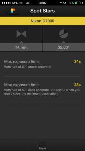 Photopills exposure calculator