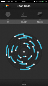 Photopills Star Trails preview calculator